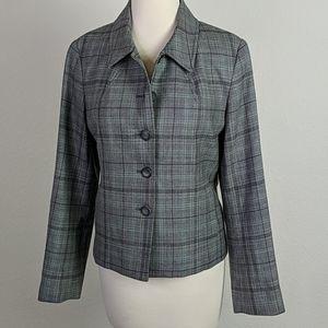 Pendleton wool Glen plaid button front blazer top
